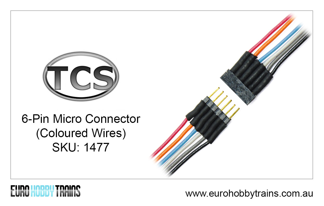 Tcs Dcc 6 Pin Micro Connector Coloured Wires Sku 1477