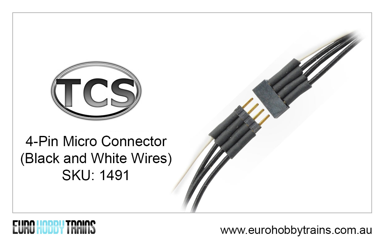 TCS DCC 4-Pin Micro Connector (black and white wires) SKU-1491 ...